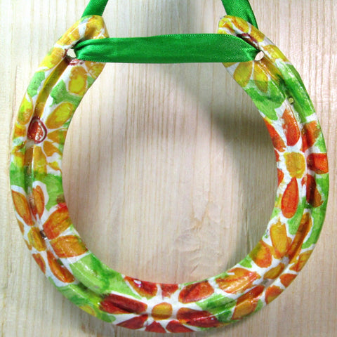 Decorated, Floral, Worn, Lucky Horseshoe, By Liffey Forge - Parade Handmade