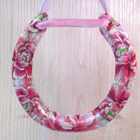 Decorated, Worn, Pink & Green Floral, Horseshoe, By Liffey Forge - Parade Handmade