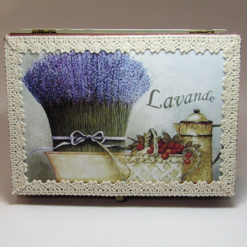 Decoupaged. Wooden Box. Lavender, By Kira Szentivanyi - Parade Handmade