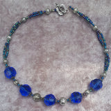 Deep Blue Faceted Glass Glam Necklace, By Lapanda Designs - Parade Handmade