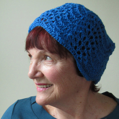 Delicate Sculpted Crocheted Hat In Deep Turquoise, Hats By Jo's Knits - Parade Handmade