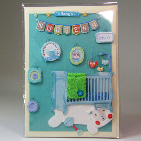 Deluxe, blank, 3D baby card, by Ann Henrick - Parade Handmade