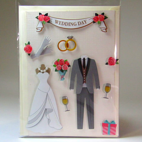 Deluxe, blank, 3D wedding card, by Ann Henrick - Parade Handmade