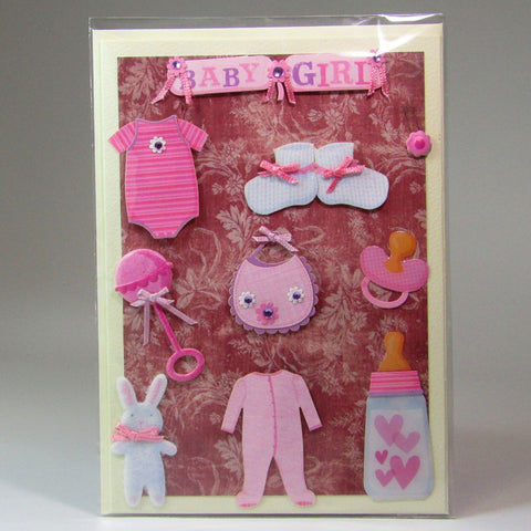 Deluxe, blank, 3D, pink baby card, by Ann Henrick - Parade Handmade