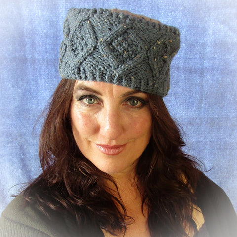Denim Blue Hat. Traditional Aran Stitches, Hats By Jo's Knits - Parade Handmade