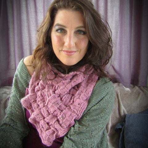 Dusky Pink, Handknit Aran Lattice Chest Warmer, By Shoreline - Parade Handmade