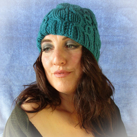 Elegant Rich Teal Blue Aran Knit Hat, By Jo's Knits - Parade Handmade