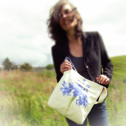 Elegant Statement Bag With Blue Flower, By Shoreline - Parade Handmade