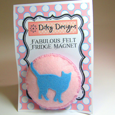 Fabulous Felt Fridge Magnet, Blue Cat On Pink, By Ditsy Designs - Parade Handmade