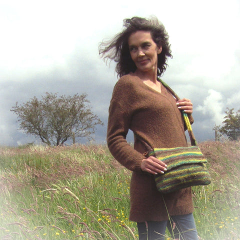 Fabulous Stripey Green Felt Shoulder Bag, By JaDa Crafts Ireland - Parade Handmade