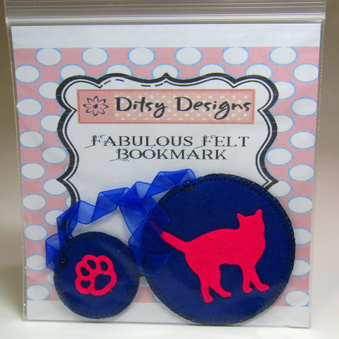 Felt Bookmark. Hot Pink Cat Motif, By Ditsy Designs - Parade Handmade