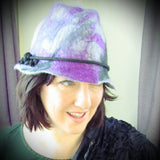 Felt Brimmed Hat.Grey, Black, Purple, Pink, 57cm, By Parade - Parade Handmade
