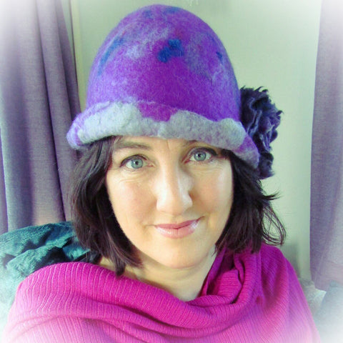 Felt Cloche Hat, Berry Surprise, Brooch, 56/57cm, By Parade - Parade Handmade