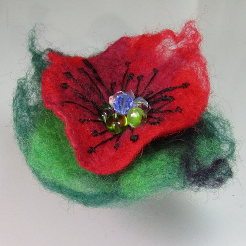 Felt Floral Beaded Brooch, in Green Red and Black, By Parade Handmade - Parade Handmade