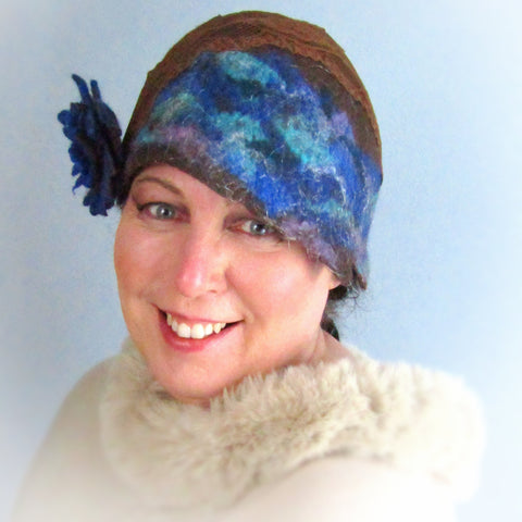 Felt Hat In Brown, Blue, Turquoise & Lilac, 57cm,  Hats By Parade - Parade Handmade