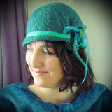 Felt Hat. Green/Turquoise Sparkly Sheen, Multi-size, By Parade - Parade Handmade