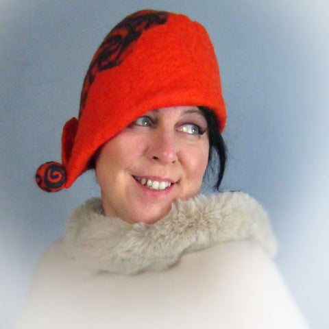 Felt Hat, Pure Wool, Orange/Teal, Lge, Hats by Parade - Parade Handmade