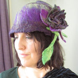 Felt Wool Hat, Purple Delight, Free Size, With Brooch, By Parade - Parade Handmade