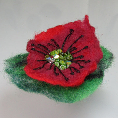Felt, Floral Beaded Brooch, Green, Red and Black, By Parade Handmade - Parade Handmade