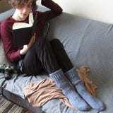 Fishermens Woolen Socks, Blue, S/M, By Jo's Knits - Parade Handmade