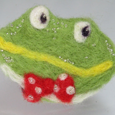 Frog Felt Brooch, The Dapper Frog, By Parade Handmade - Parade Handmade