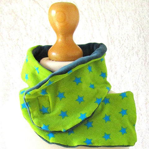 Funky Lime Green Summer Scarf With Blue Stars, By JaDa Crafts Ireland - Parade Handmade