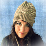 Funky Wooly Hat In Beige & Cream, By Jo's Knits - Parade Handmade