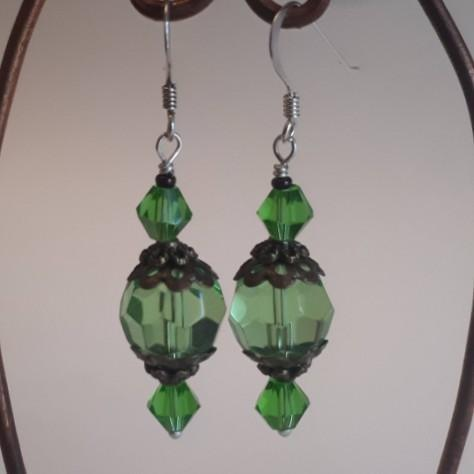 Green Drop Earrings, Vintage Style, By Lapanda Designs - Parade Handmade