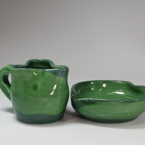 Green Sugar and Creamer Set, By Kurilla Pottery - Parade Handmade