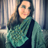 Green Variegated, Handknit Lattice Neck Piece, By Shoreline - Parade Handmade