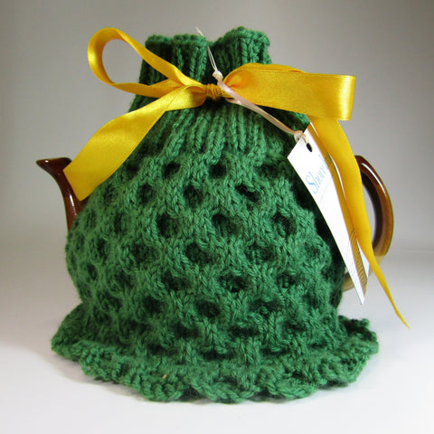 Green, Irish Tea Cosy, Aran Style, by Shoreline. - Parade Handmade