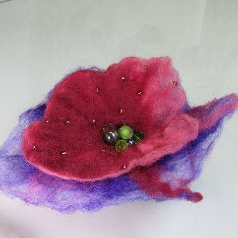 Hand Felted Beaded Brooch, in Purple, Pink and Lilac, By Parade Handmade - Parade Handmade