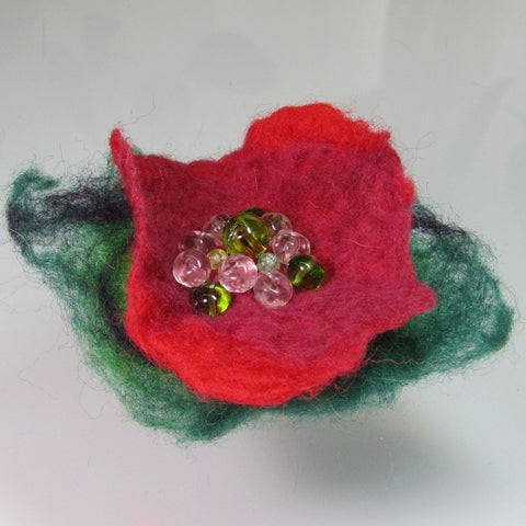 Hand Felted, Floral, Beaded Brooch, in Green and Red , By Parade Handmade - Parade Handmade
