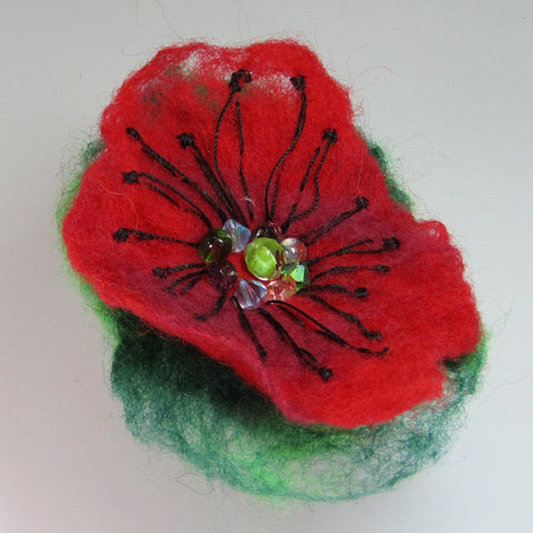 Hand Felted, Floral, Beaded Brooch, in Green, Red and Black , By Parade Handmade - Parade Handmade