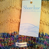 Hand knit, mustard, scarf with stripe detail, By Shoreline - Parade Handmade