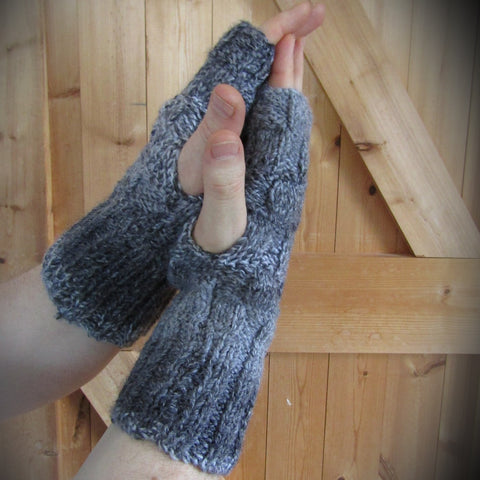 Handknit Aran Wrist Warmers, Grey, Mens XL, By Bridie Murray - Parade Handmade
