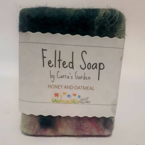 Honey and Oatmeal Felted Goat's Milk Soap, By Carra's Garden - Parade Handmade