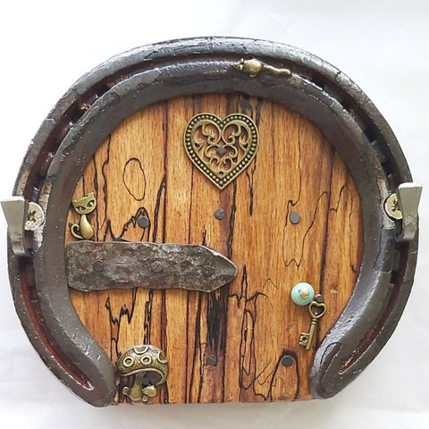 Horseshoe Keyrack Fairy Door With Cat and Mushroom, By Liffey Forge - Parade Handmade