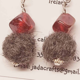 Felt Earring With Red Glass, By JaDa Crafts Ireland - Parade Handmade Co Mayo