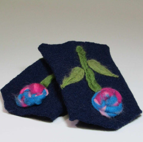 Felt Wrist Warmers, Navy, Flexible and Colourful, By JaDa Crafts Ireland - Parade Handmade