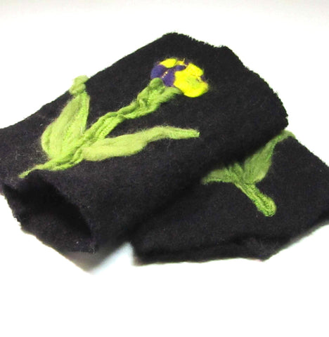 Felt Wrist Warmers, Flexible, Black Floral, By JaDa Crafts Ireland - Parade Handmade
