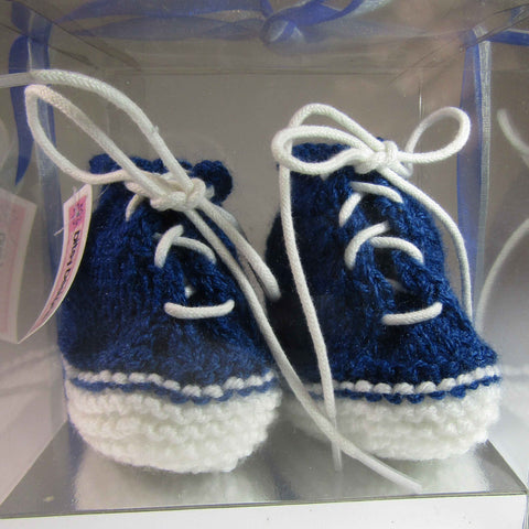 Baby Booties In Navy and White, By Ditsy Designs - Parade Handmade