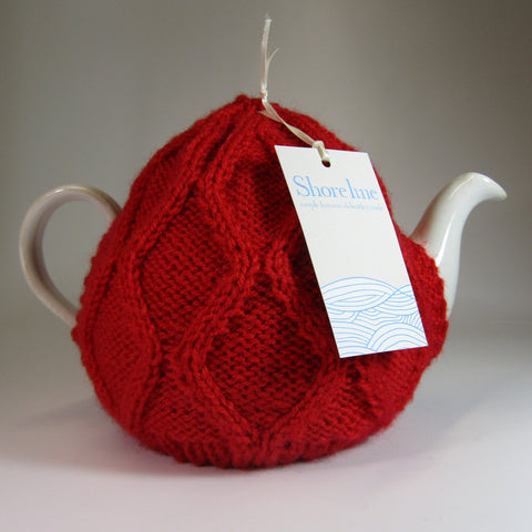 Irish aran knit, cute, mid-red, Tea Cosy, by Shoreline. - Parade Handmade