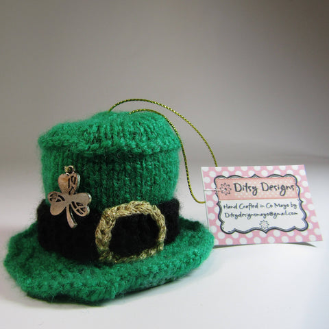 Leprechaun. Hat Knitted With Shamrock, by Ditsy Designs - Parade Handmade