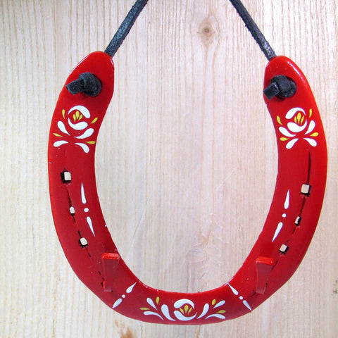 Lucky, Red, Horseshoe Key Holder, By Liffey Forge - Parade Handmade