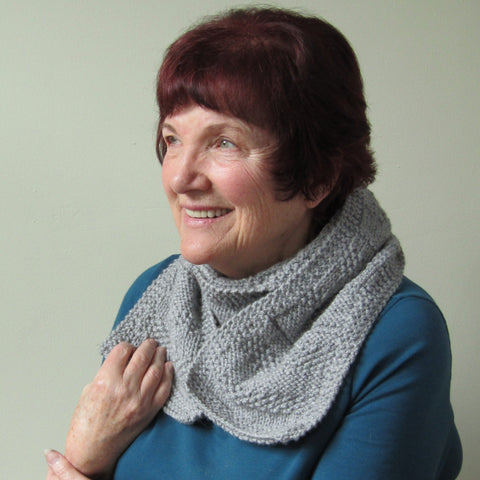 Mid Grey, Elegant, Hand Knitted Scarf,140cm x 18cm, By Jo's Knits - Parade Handmade