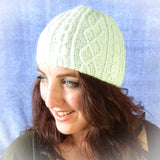 Mint Green Beanie.Traditional Aran Stitches, Hats By Jo's Knits - Parade Handmade
