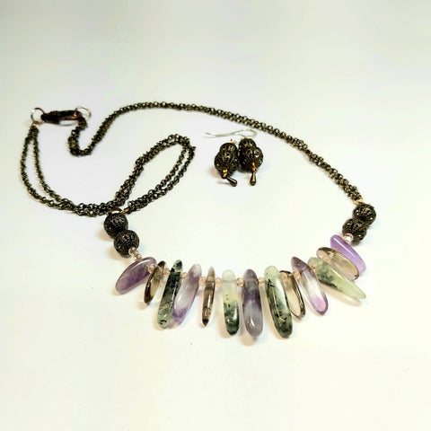Mixed Gemstone Irish Bog Necklace and Earrings Set,  By Lapanda Designs - Parade Handmade