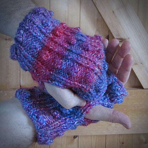Multi-Coloured Handknit Aran Wrist Warmers, Mens L, By Bridie Murray - Parade Handmade
