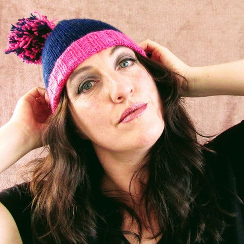 Navy & Vibrant Pink Hat. Bobble & Turn Up, By Shoreline - Parade Handmade